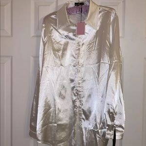 PrettyLittleThing Satin Button Blouse Long Sleeve